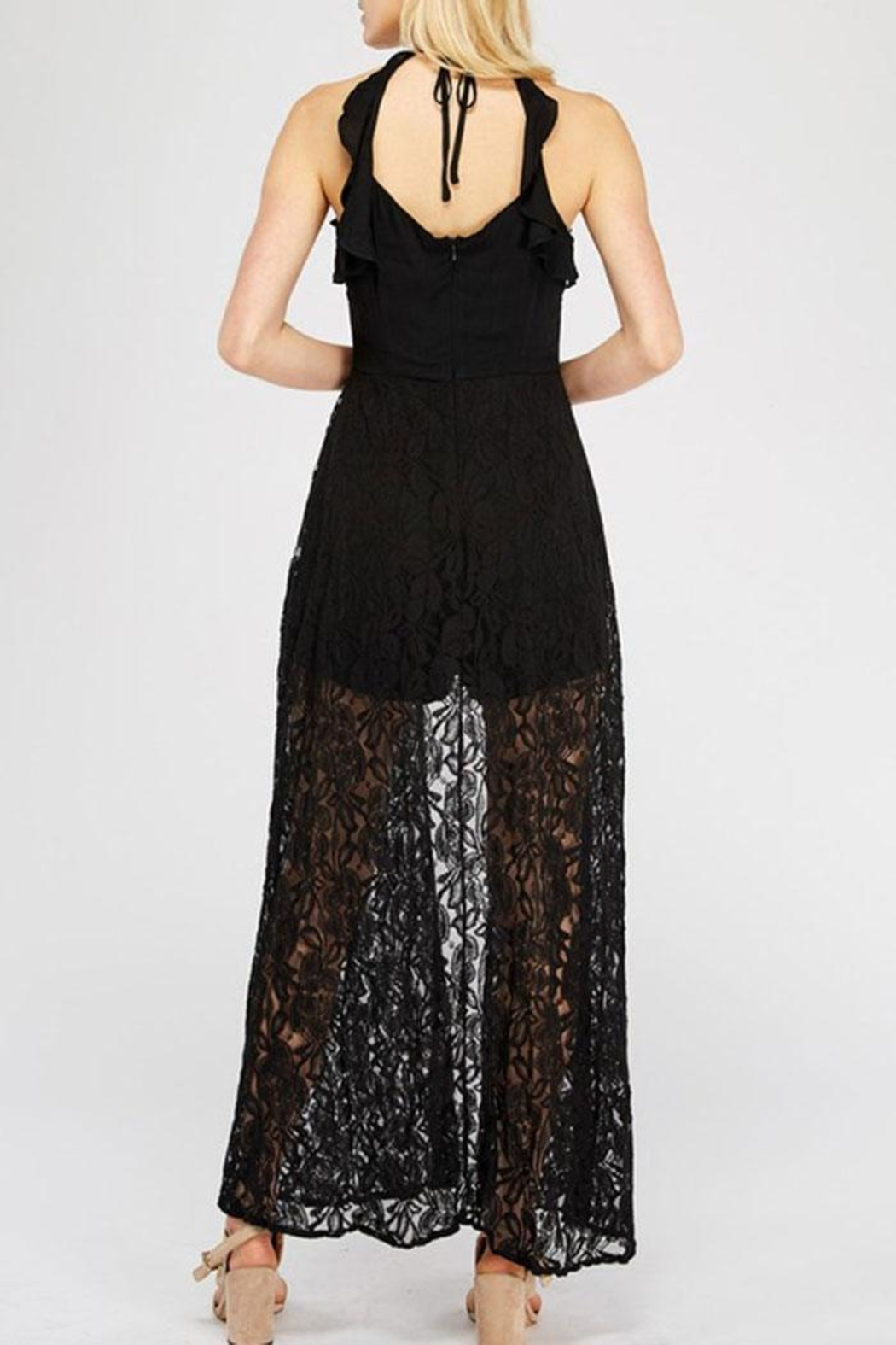 Entro Lace Overlay Halter-Romper - Front Full Image