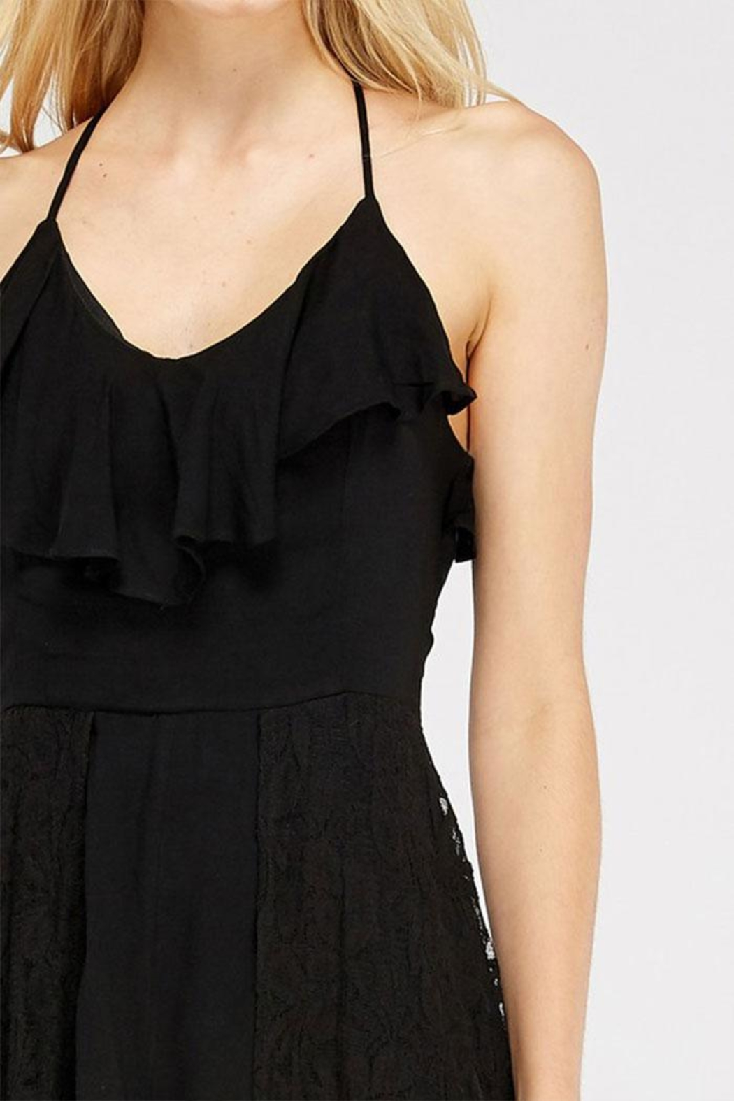 Entro Lace Overlay Halter-Romper - Back Cropped Image