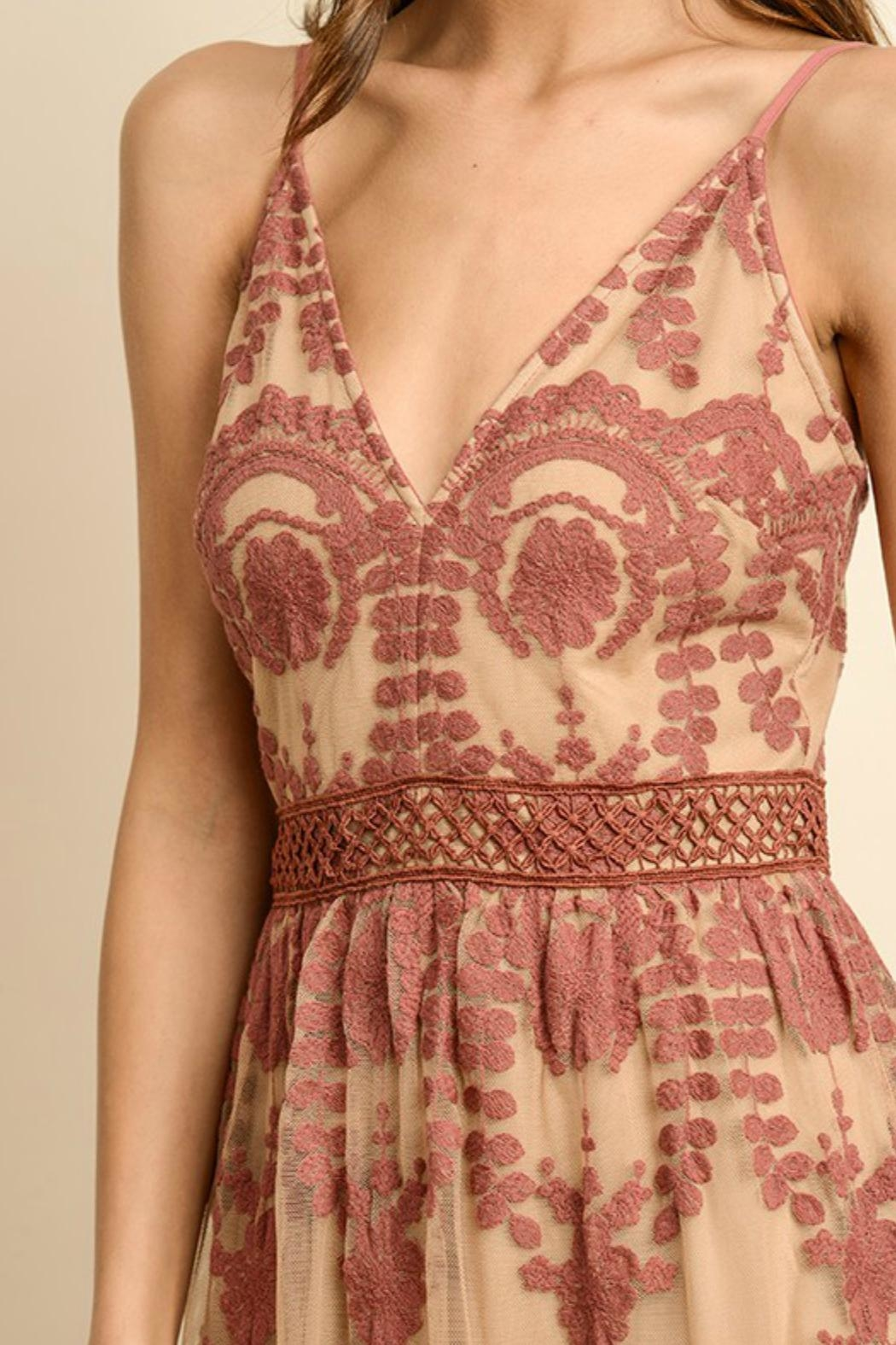 ALB Anchorage Lace-Overlay Rust Maxi - Back Cropped Image