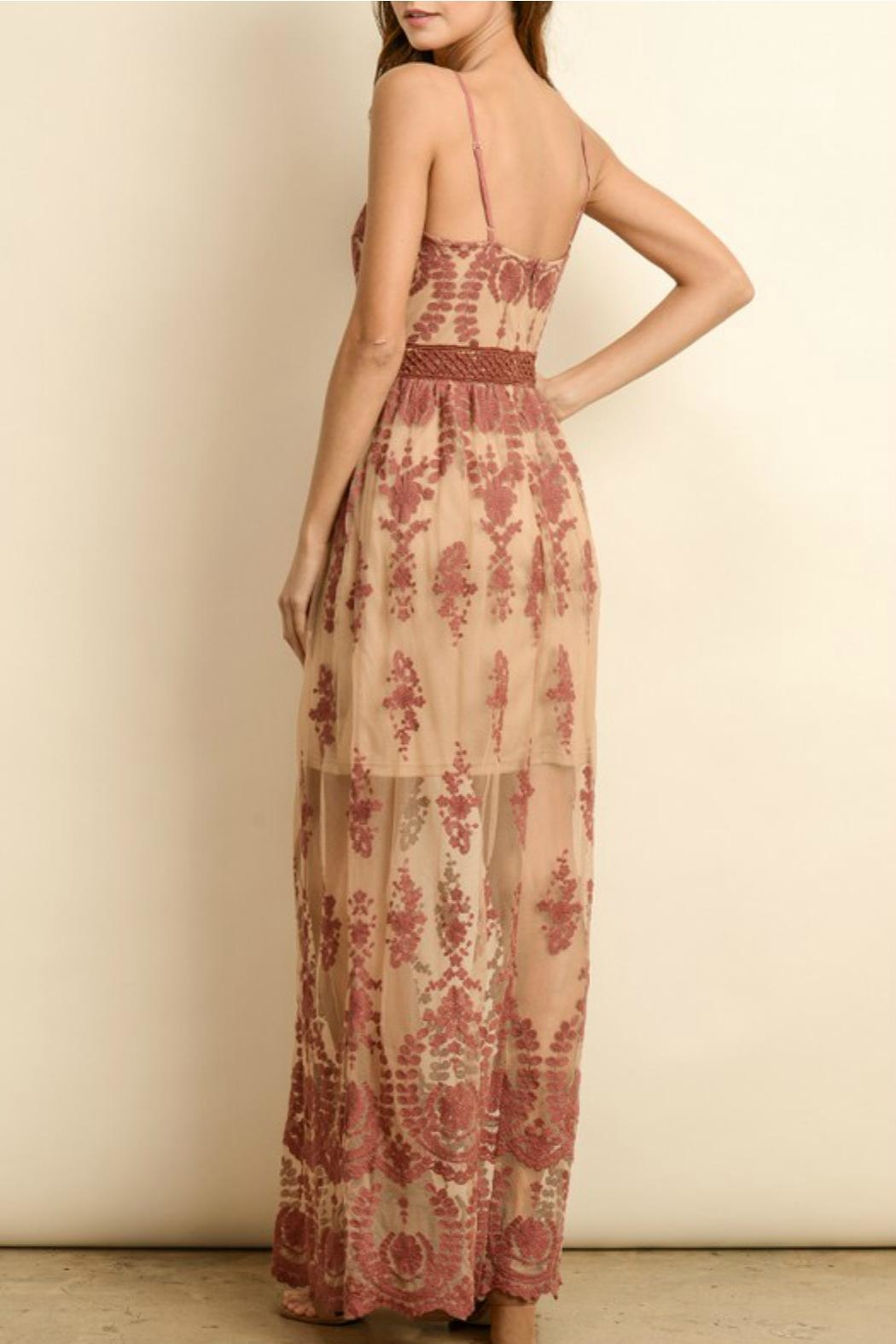 ALB Anchorage Lace-Overlay Rust Maxi - Front Full Image