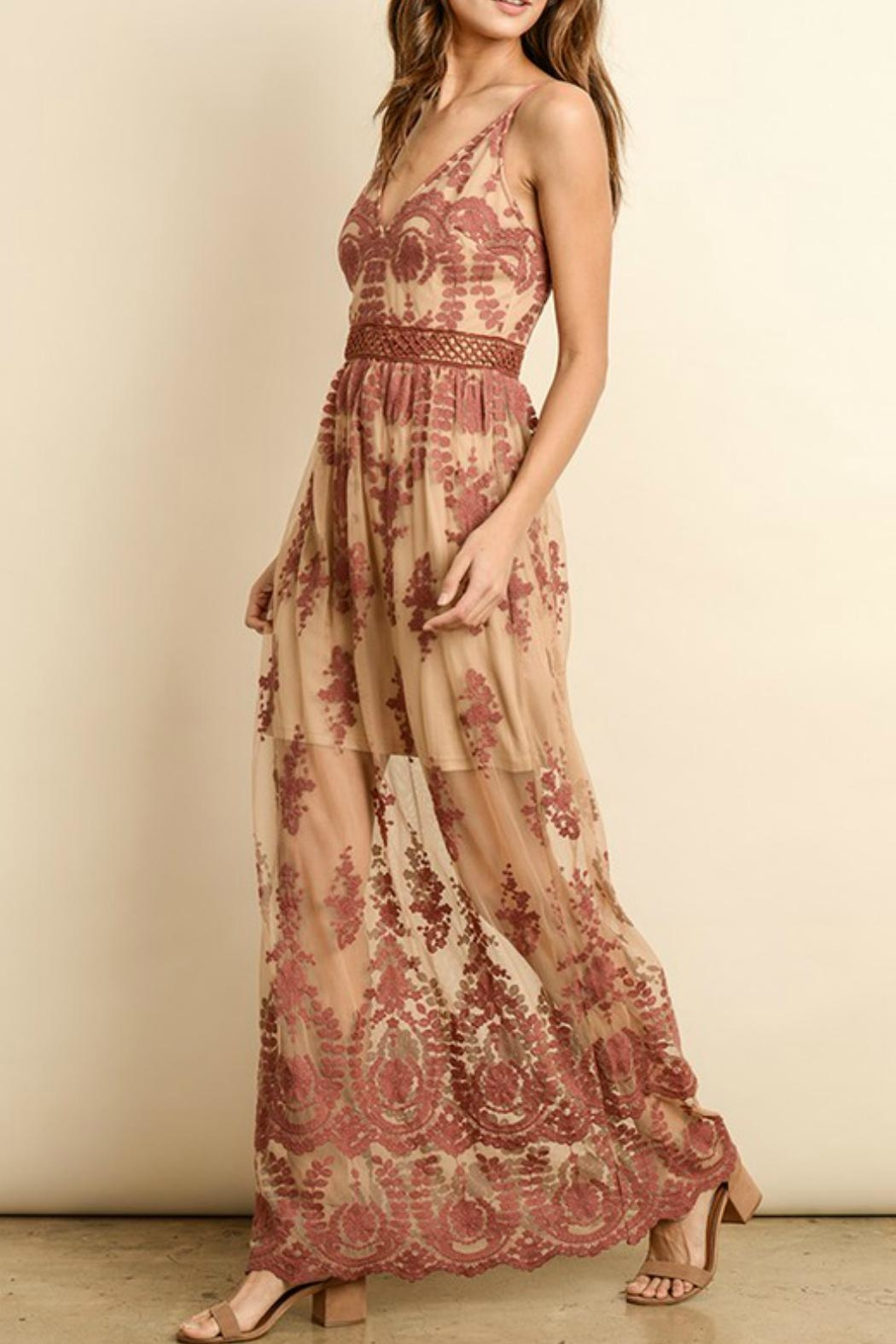 ALB Anchorage Lace-Overlay Rust Maxi - Side Cropped Image