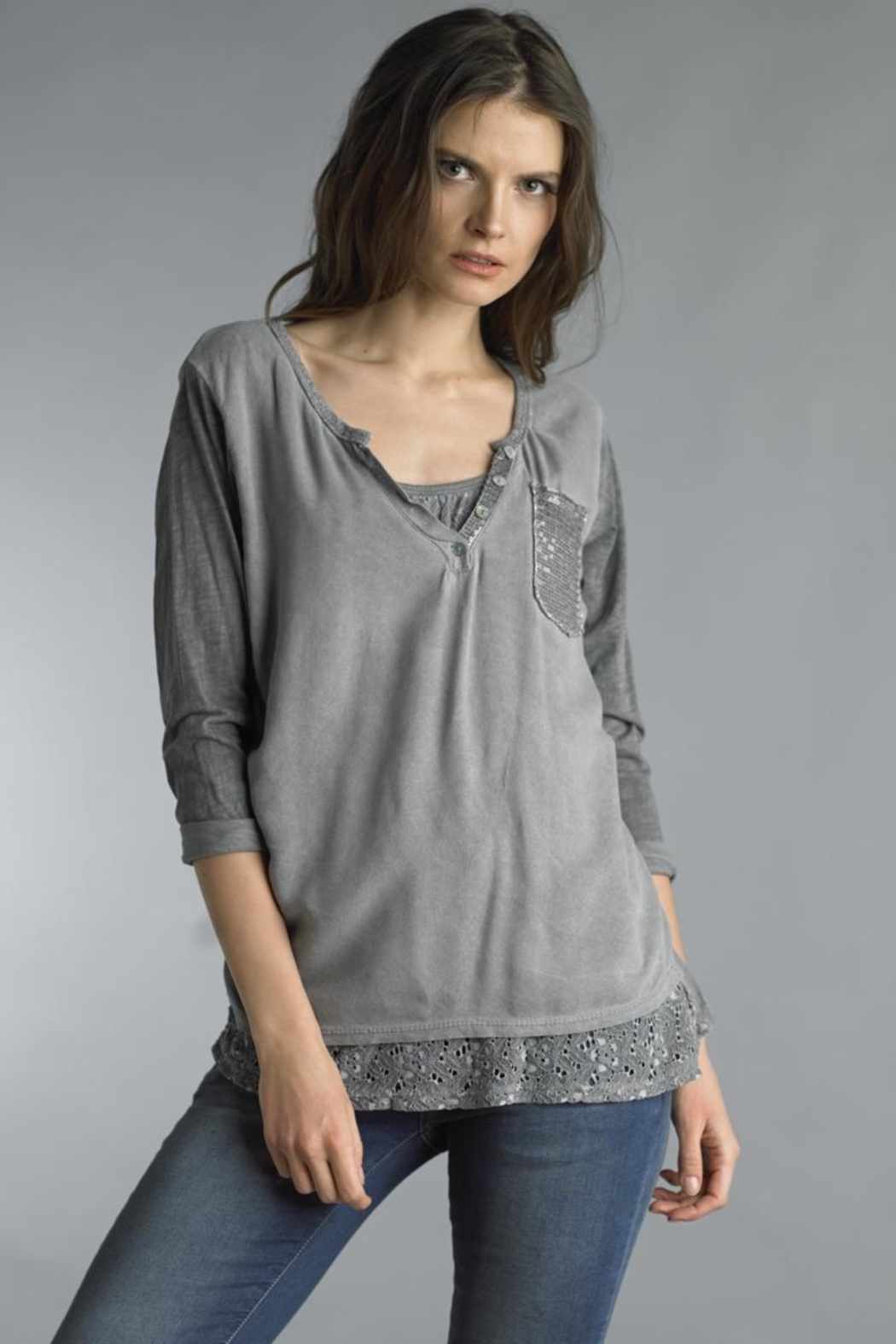Tempo Paris Lace Panel Henley - Front Cropped Image