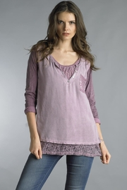 Tempo Paris Lace Panel Henley - Front cropped