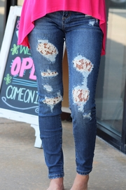 Judy Blue Lace Patch Skinny Jeans - Product Mini Image