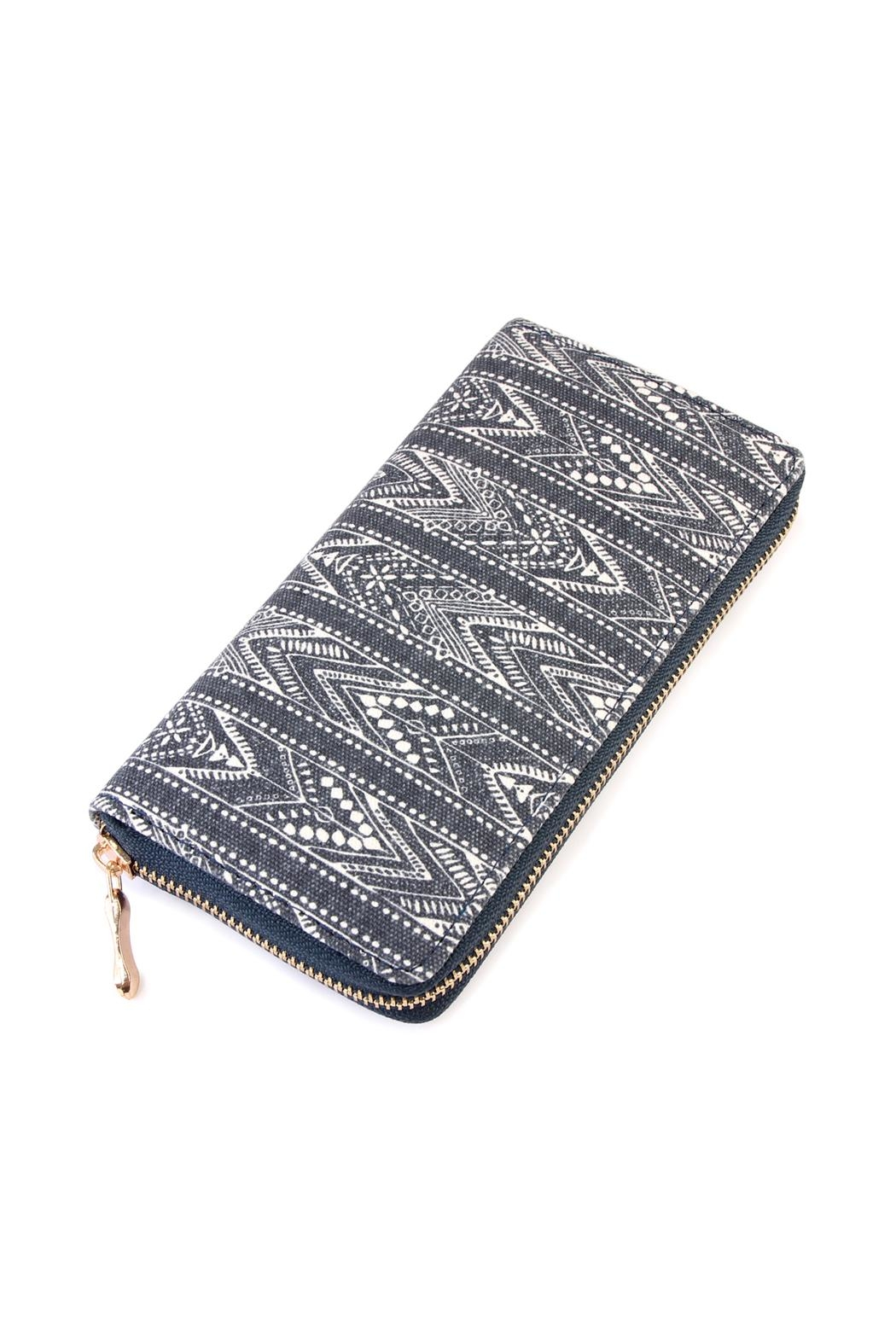 Riah Fashion Lace-Pattern-Print Zipper Wallet - Main Image