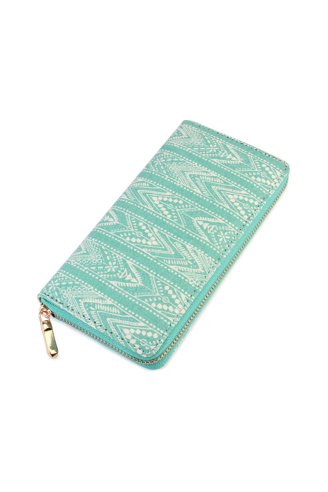 Riah Fashion Lace-Pattern-Print Zipper Wallet - Front Cropped Image