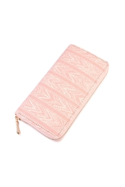 Riah Fashion Lace-Pattern-Print Zipper Wallet - Front cropped