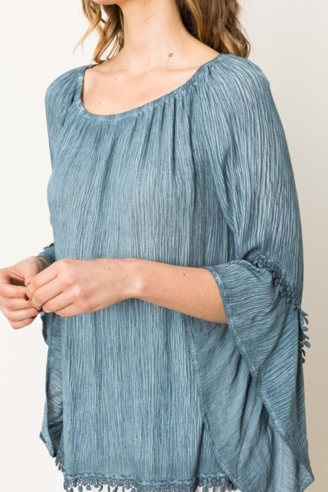 Mystree Lace Peasant Top - Back Cropped Image