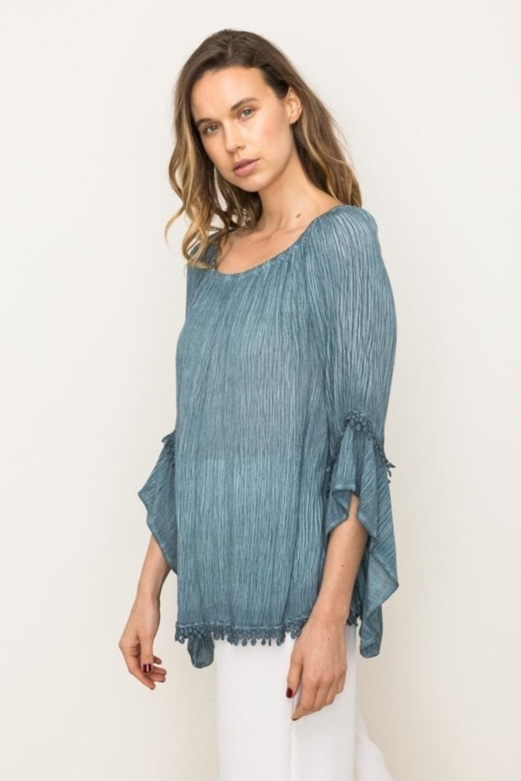 Mystree Lace Peasant Top - Front Full Image