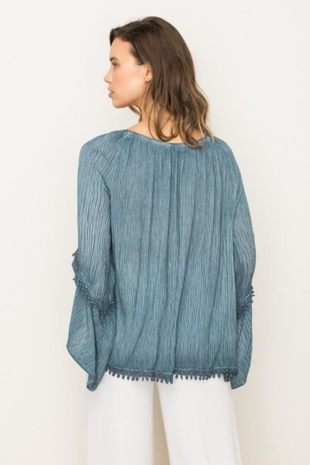 Mystree Lace Peasant Top - Side Cropped Image