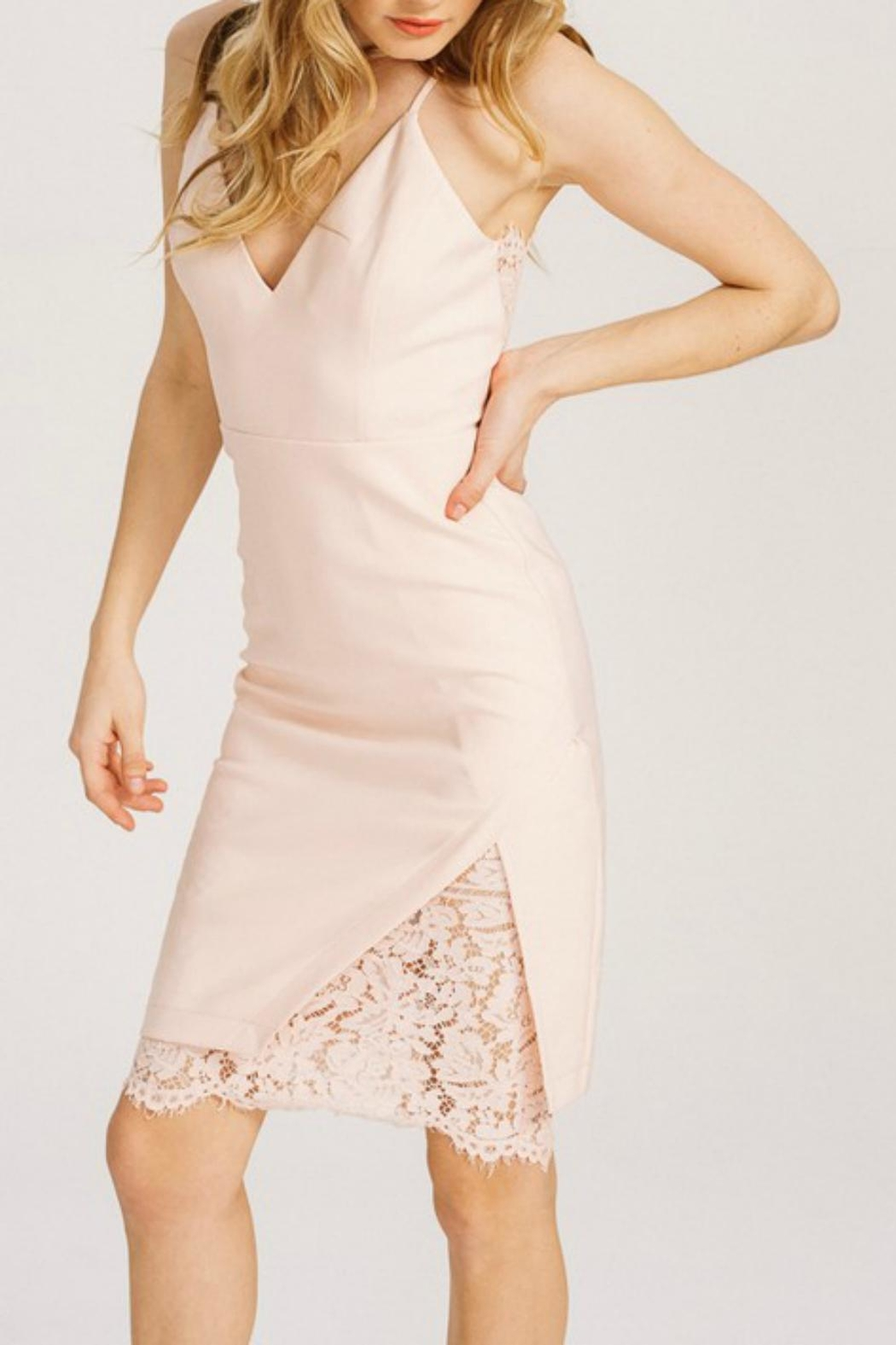 Pretty Little Things Lace Peekaboo Dress - Front Cropped Image