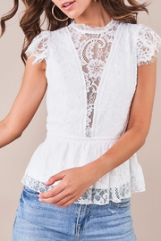 Sugarlips Lace Peplum Blouse - Front cropped