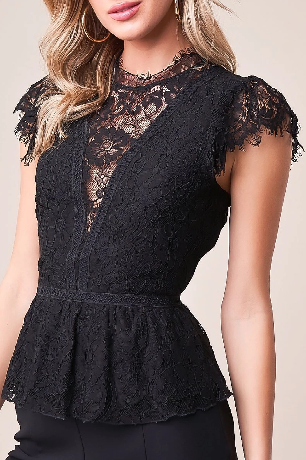 Sugarlips Lace Peplum Blouse - Front Cropped Image