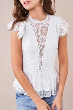 Sugarlips Lace Peplum Blouse - Alternate List Image