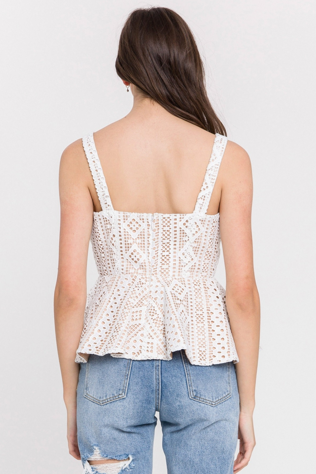 Endless Rose Lace Peplum Tank - Side Cropped Image