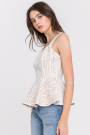 Endless Rose Lace Peplum Tank - Front full body