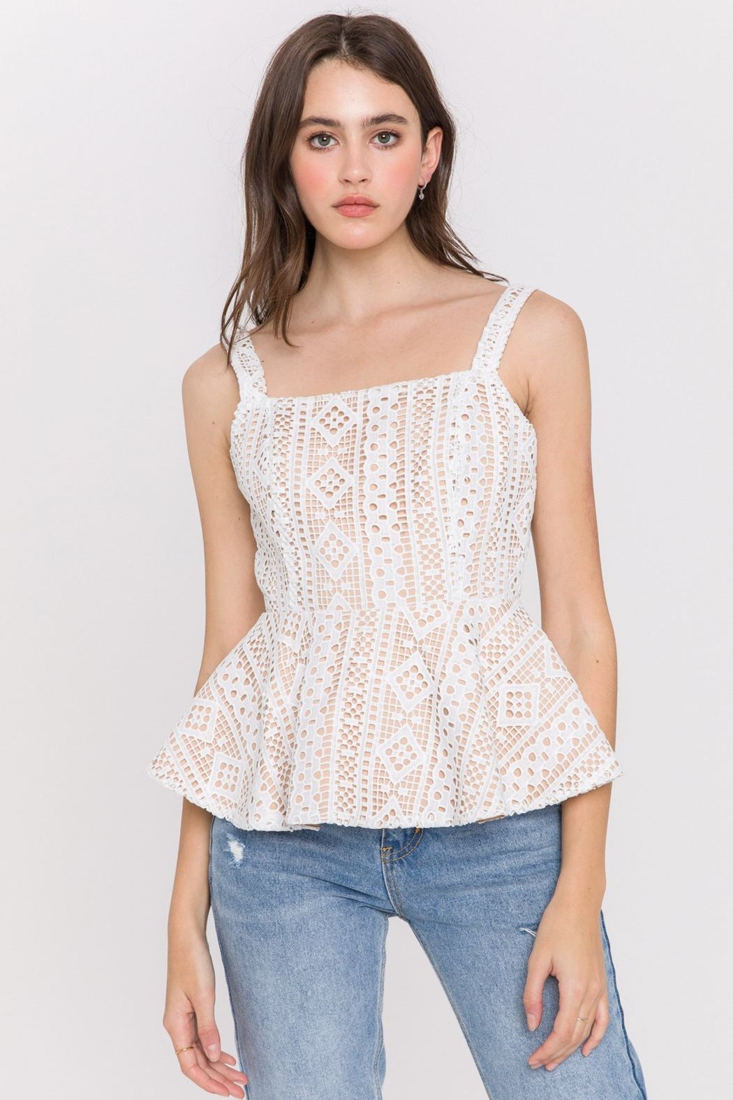 Endless Rose Lace Peplum Tank - Main Image