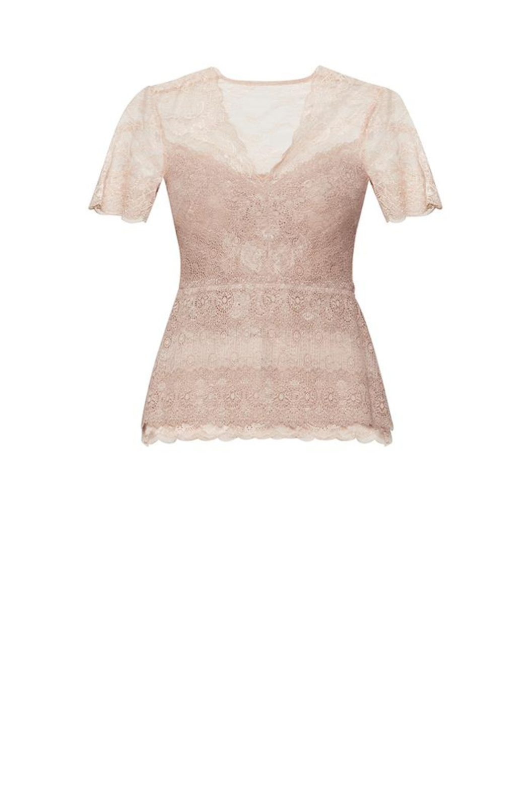 BCBG MAXAZRIA Lace Peplum Top - Back Cropped Image