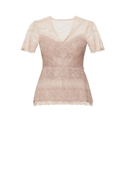 BCBG MAXAZRIA Lace Peplum Top - Back cropped