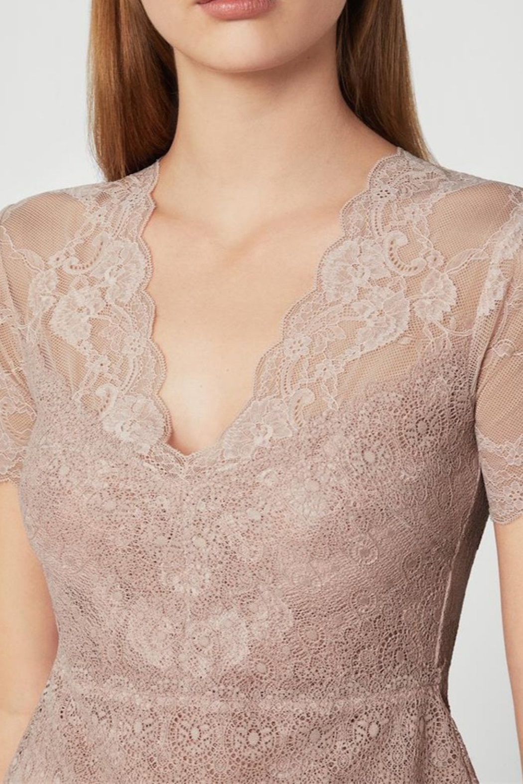 BCBG MAXAZRIA Lace Peplum Top - Side Cropped Image