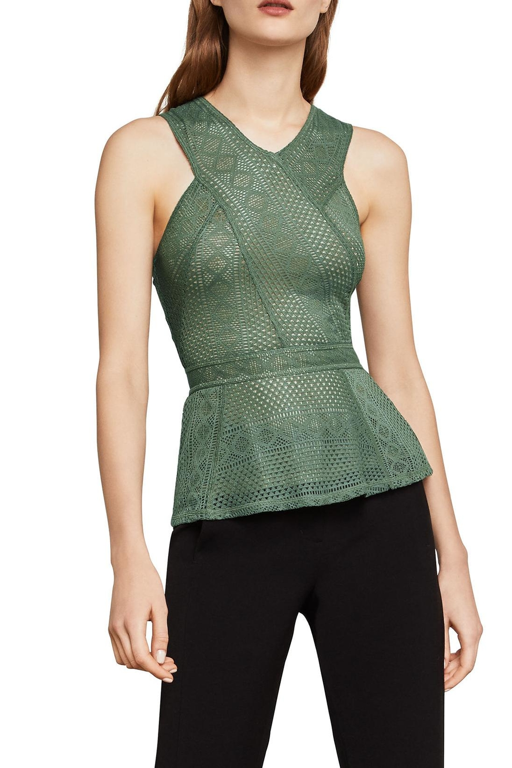 BCBG Max Azria Lace Peplum Top - Front Cropped Image