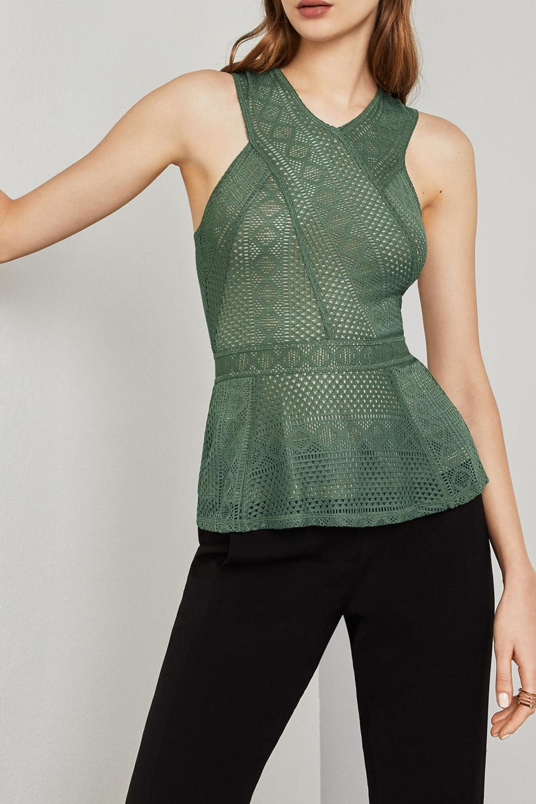 BCBG Max Azria Lace Peplum Top - Side Cropped Image