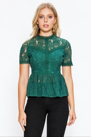 Jealous Tomato Lace Peplum Top - Product Mini Image
