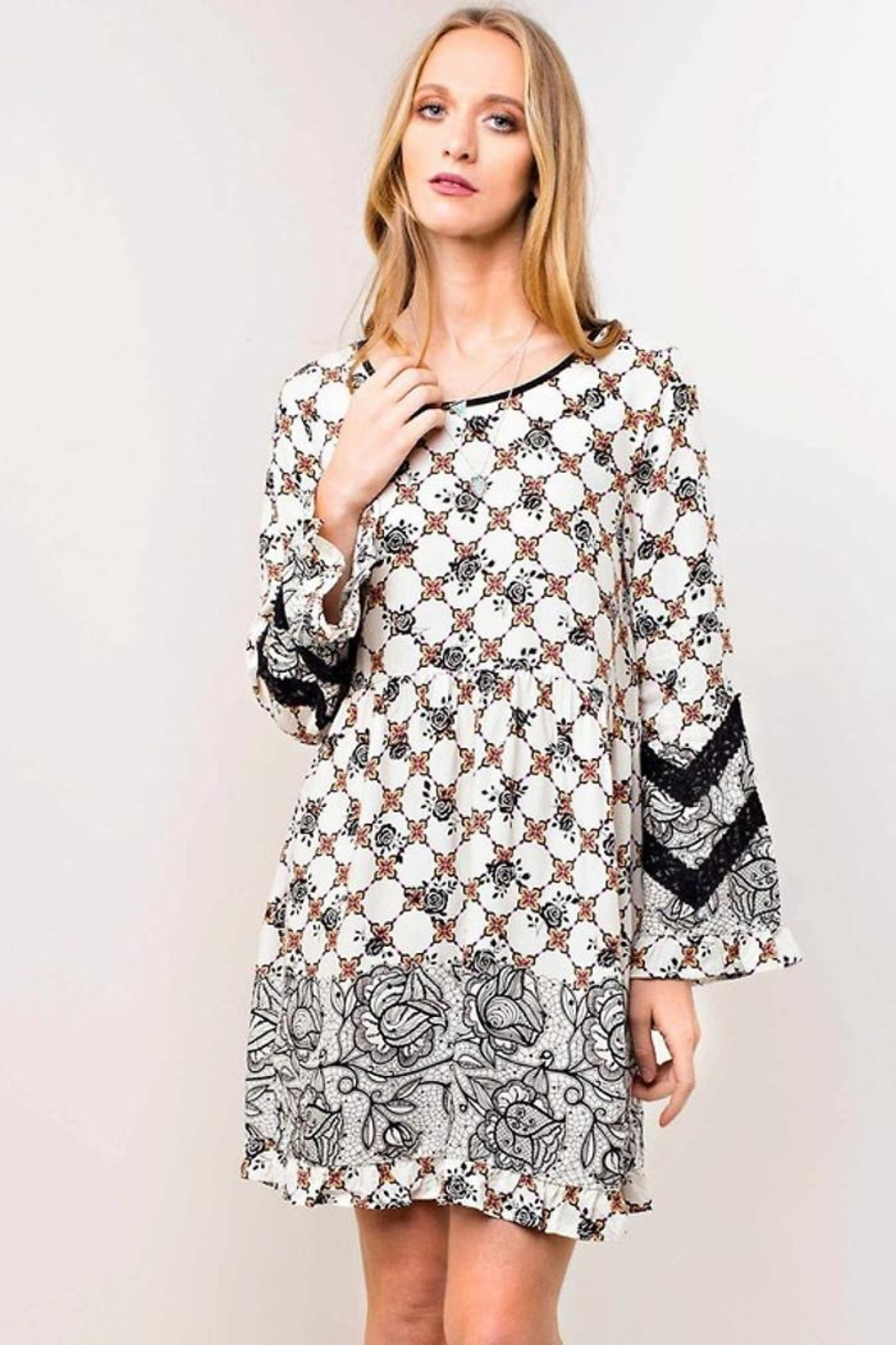 People Outfitter Lace Print Dress - Main Image