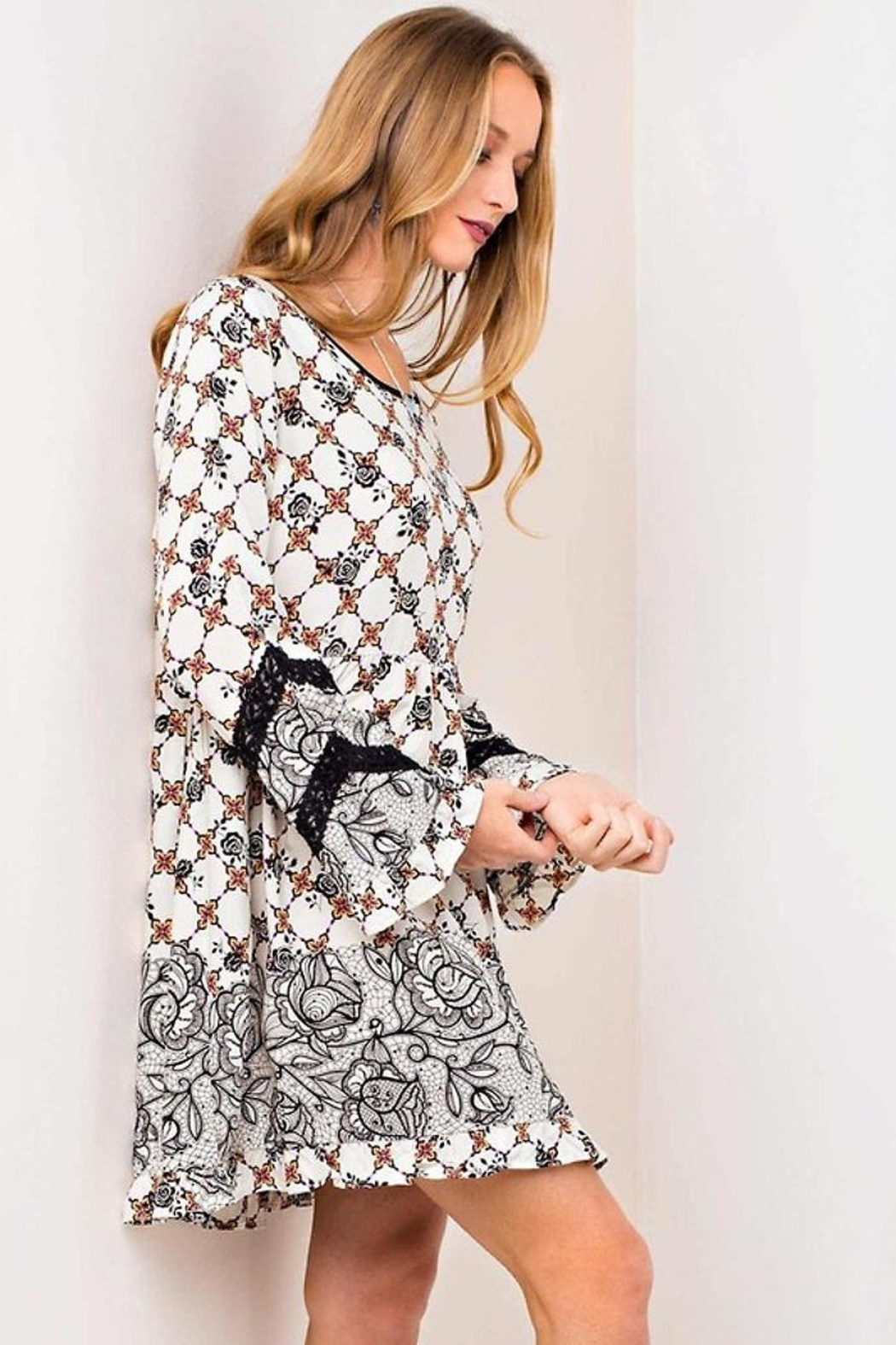 People Outfitter Lace Print Dress - Front Cropped Image