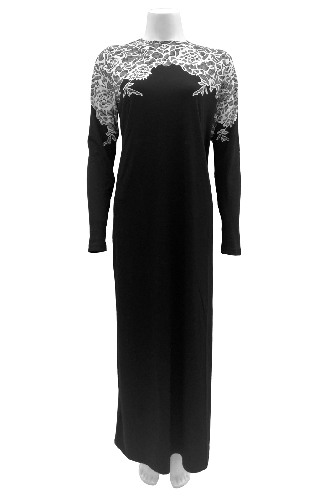 Velvette  Lace print over-the-head gown - Front Full Image