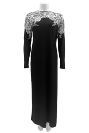 Velvette  Lace print over-the-head gown - Front full body
