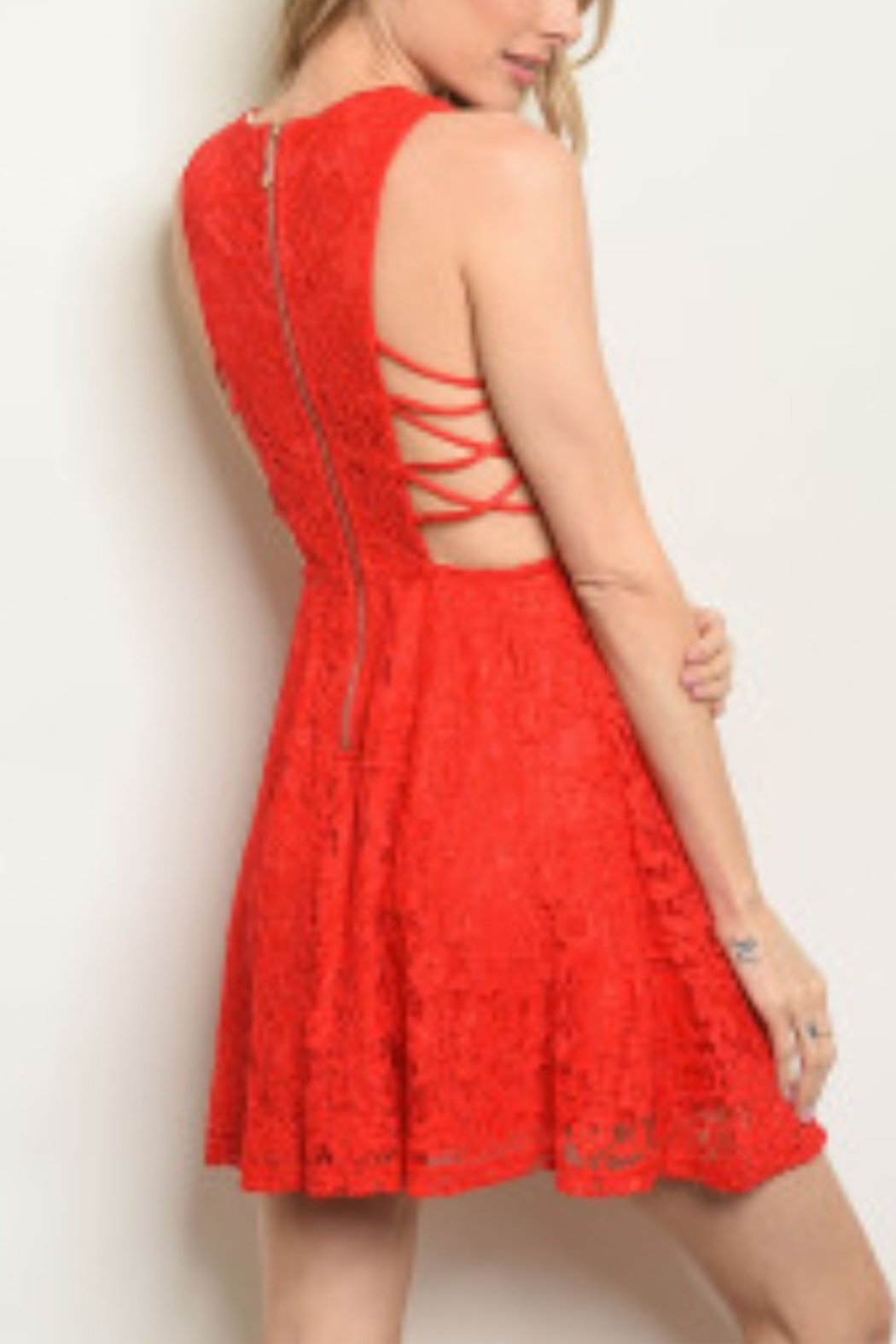 Lyn-Maree's  Lace Red Fit & Flare - Front Full Image