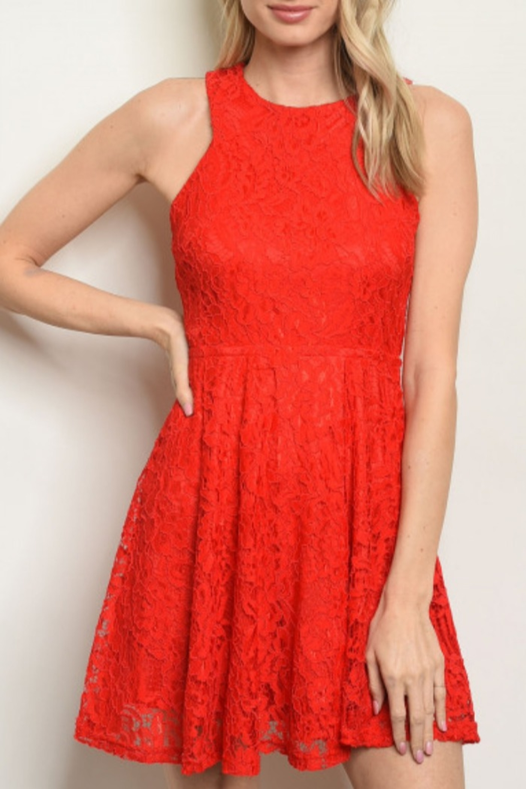 Lyn-Maree's  Lace Red Fit & Flare - Main Image