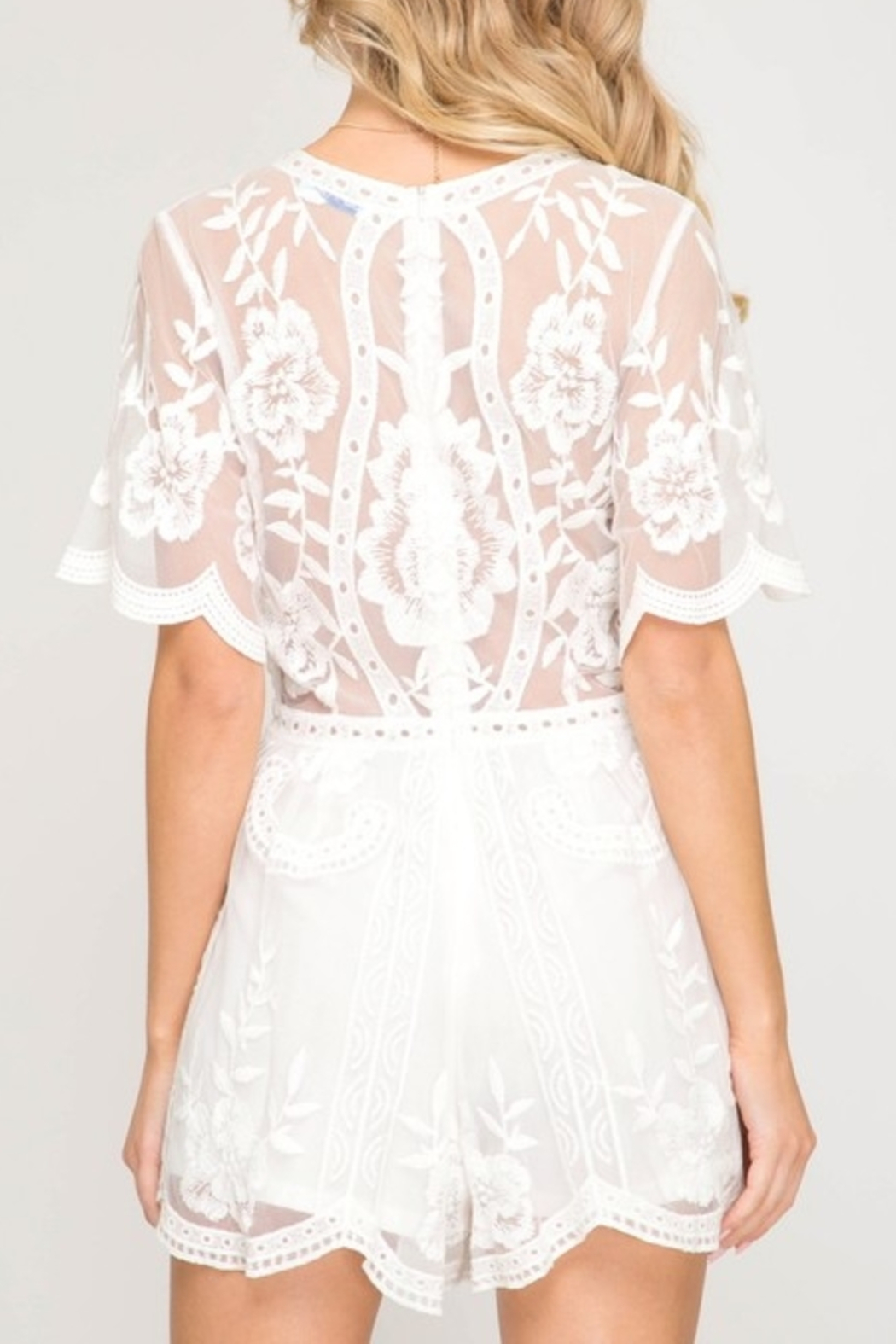 Style U Lace Romper - Front Full Image