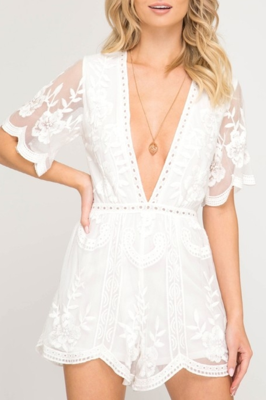 Style U Lace Romper - Front Cropped Image