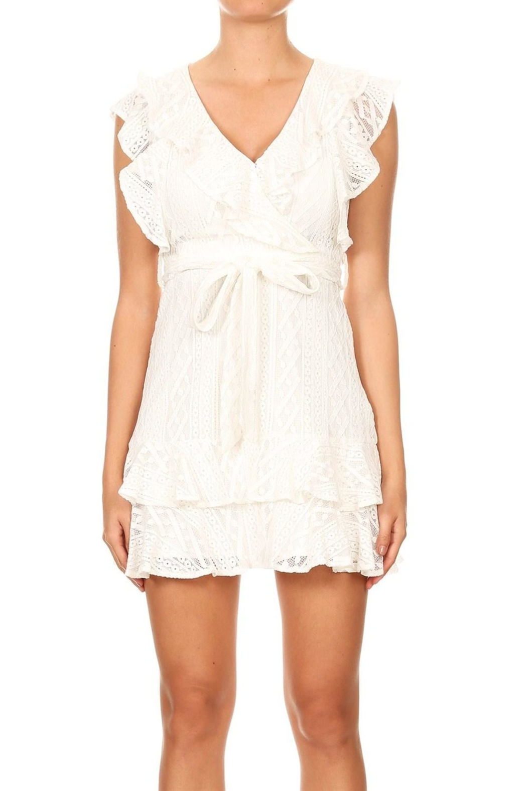 Ina Lace Ruffle Dress - Front Cropped Image