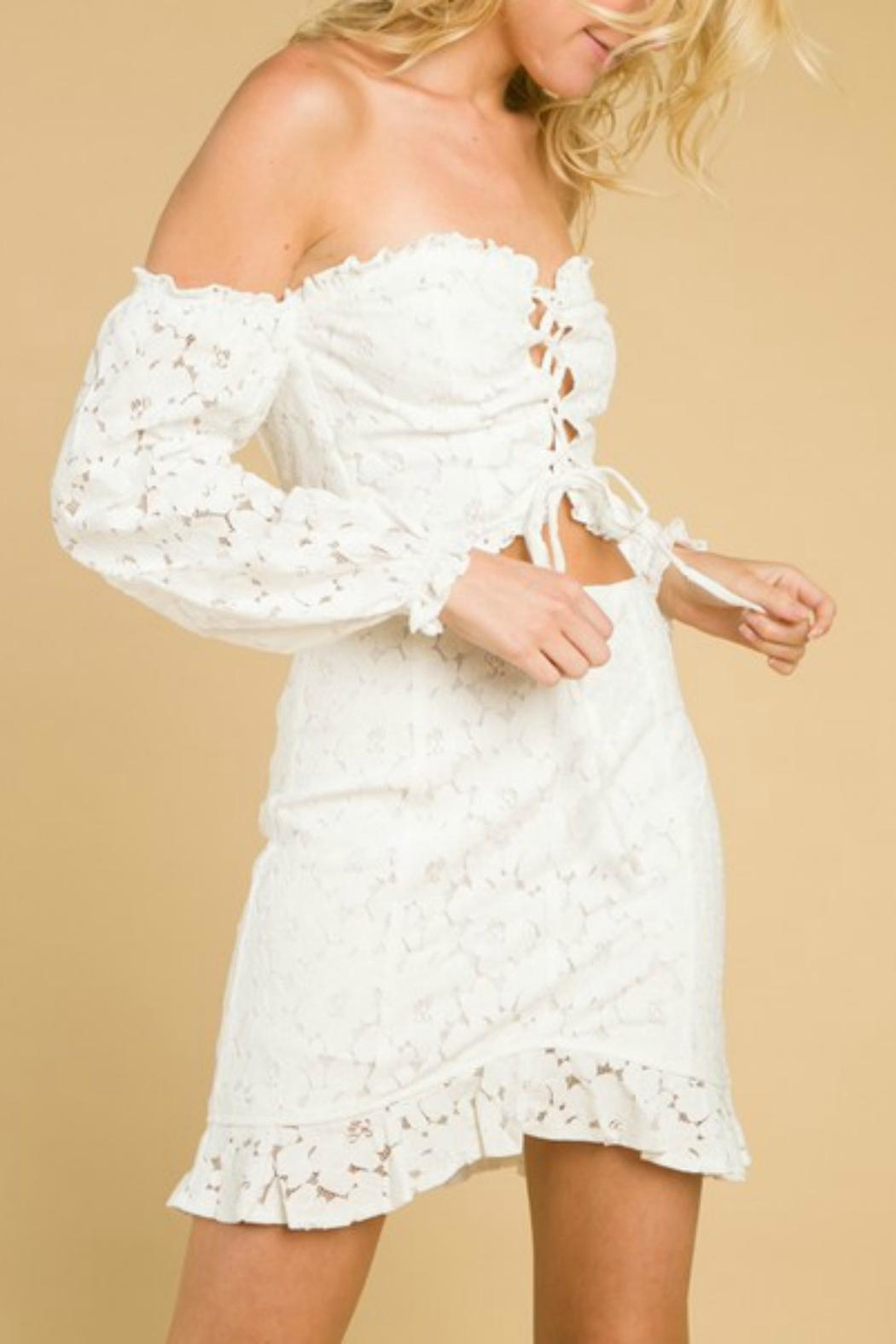 Pretty Little Things Lace Ruffle Skirt - Side Cropped Image