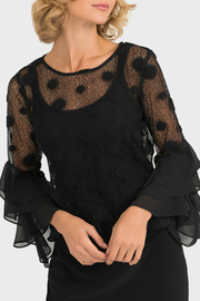 Joseph Ribkoff USA Inc. Lace Ruffle Slv Blouse w Cami - Product Mini Image
