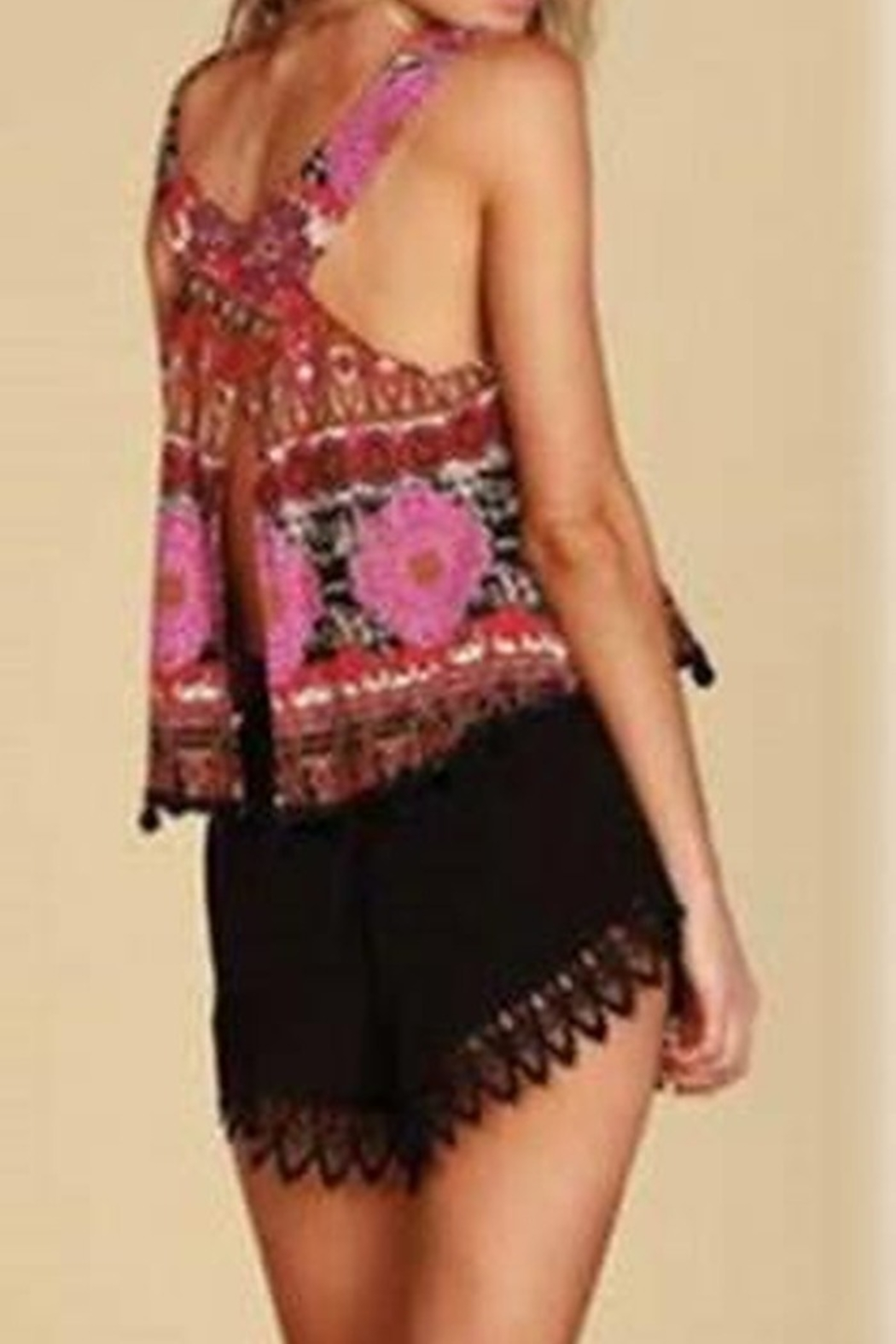 Lucy-Love Lace Scallop Hem Shorts - Front Cropped Image