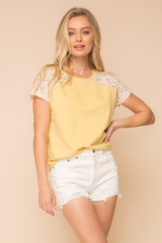Hem and Thread LACE SEE-THRU SHOULDER SHORT SLEEVE TOP - Product Mini Image