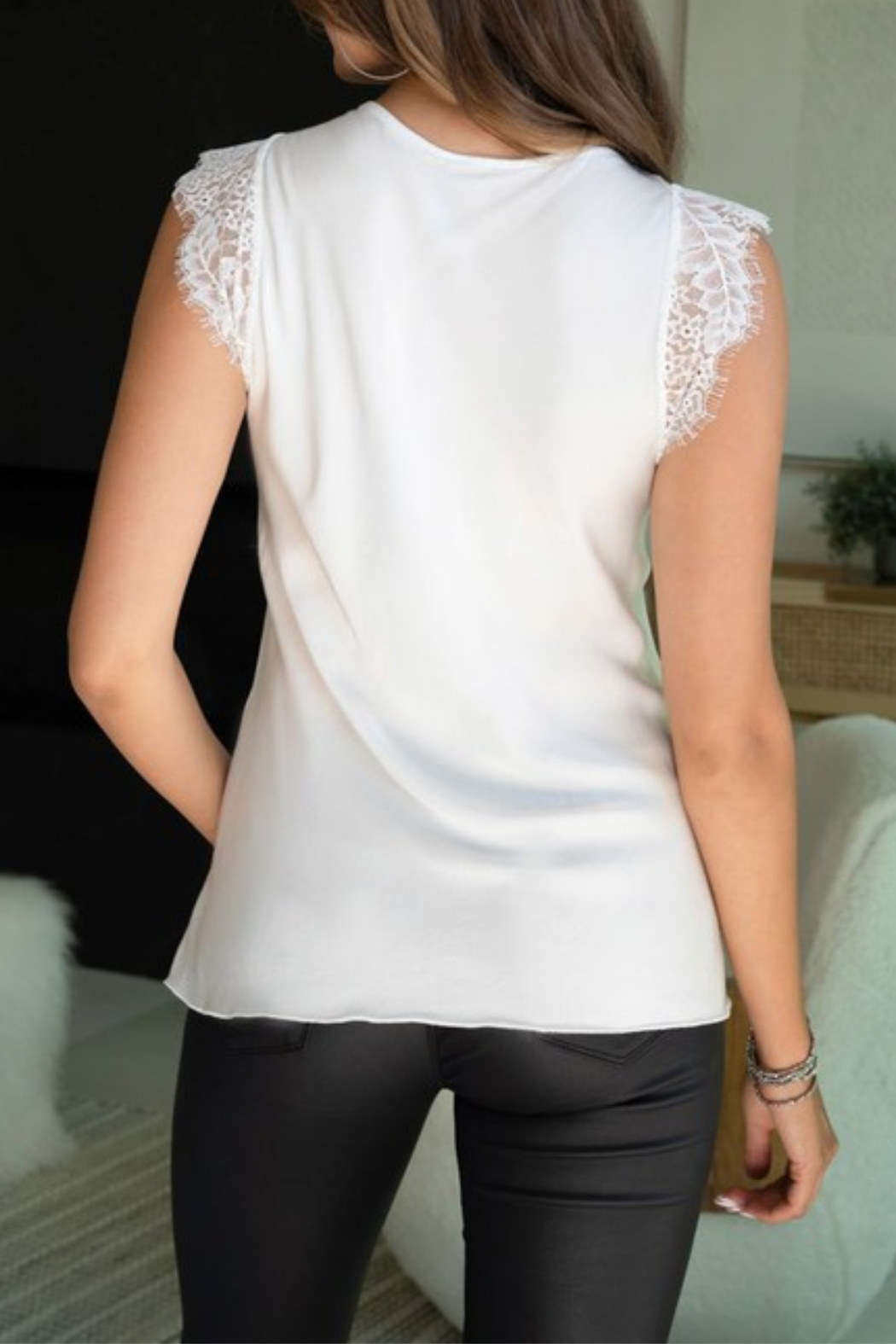 Venti6 Lace Silky V-Neck Top - Front Full Image
