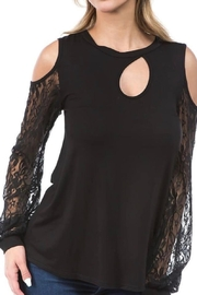 Vava by Joy Hahn Lace Sleeve Cold Shoulder Top - Product Mini Image