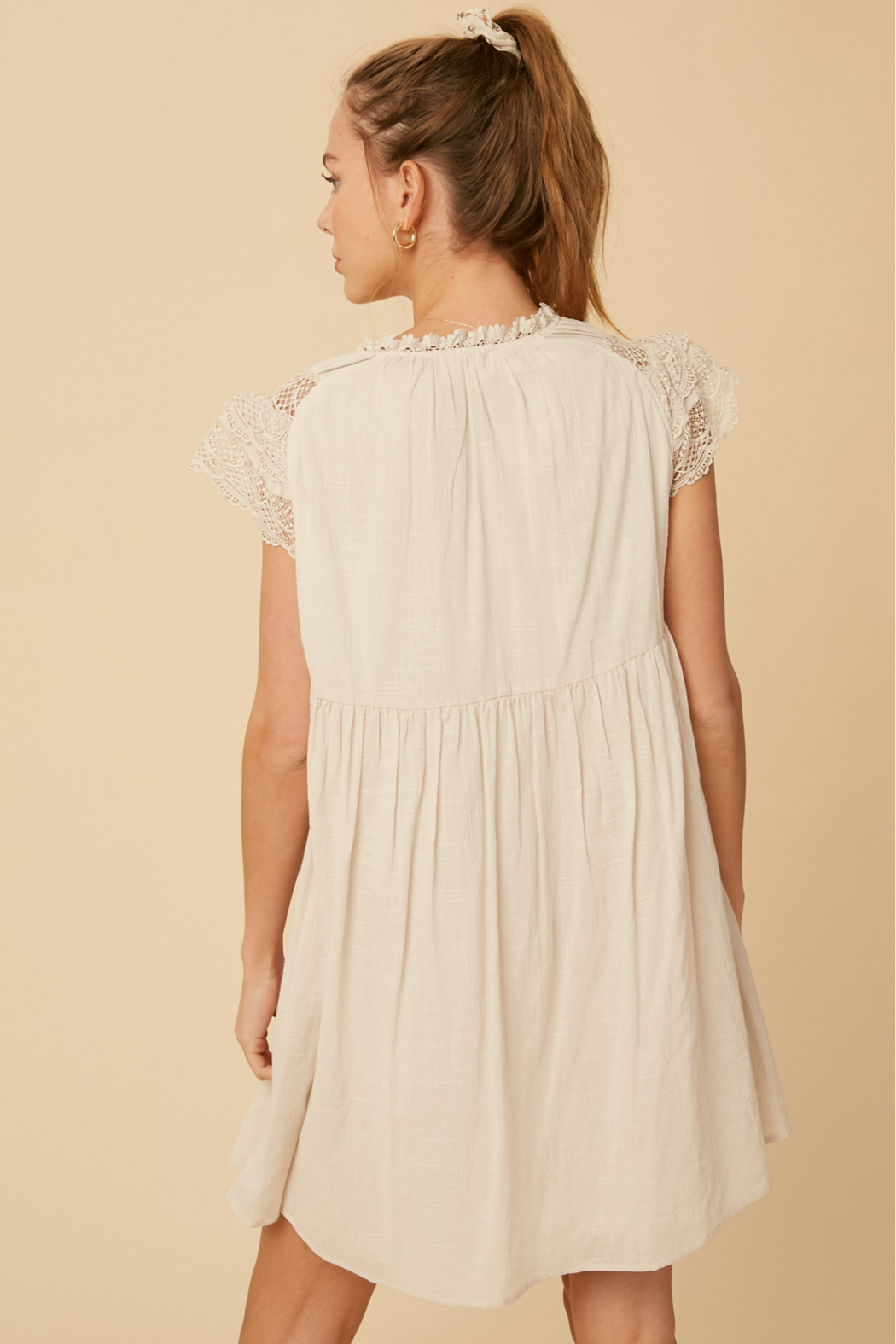 Listicle Lace Sleeve Dress - Front Full Image