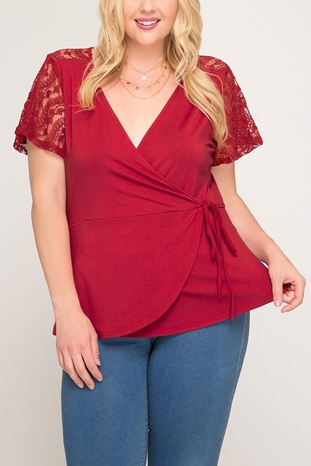 36a304b8584 She + Sky Lace Sleeve Faux Wrap Top from Indiana by Lyn-Maree's ...
