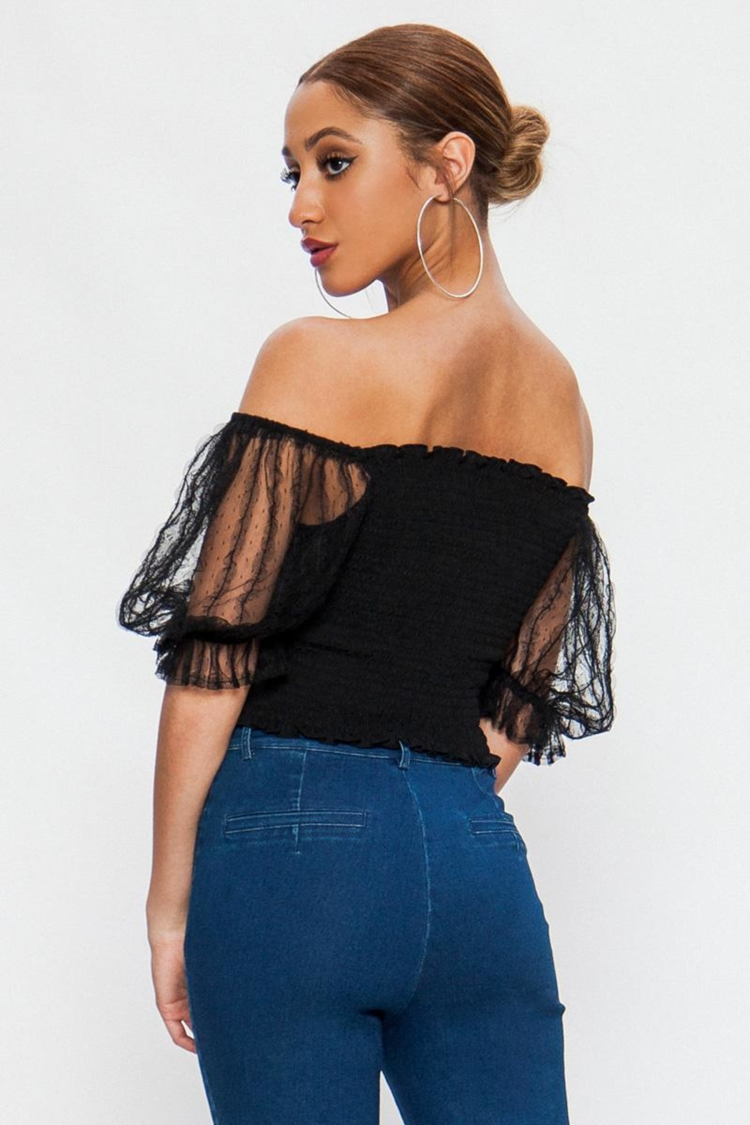 Flying Tomato Lace Sleeve Off-Shoulder - Front Full Image