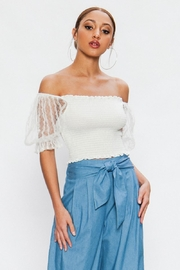 Flying Tomato Lace Sleeve Off-Shoulder - Front cropped
