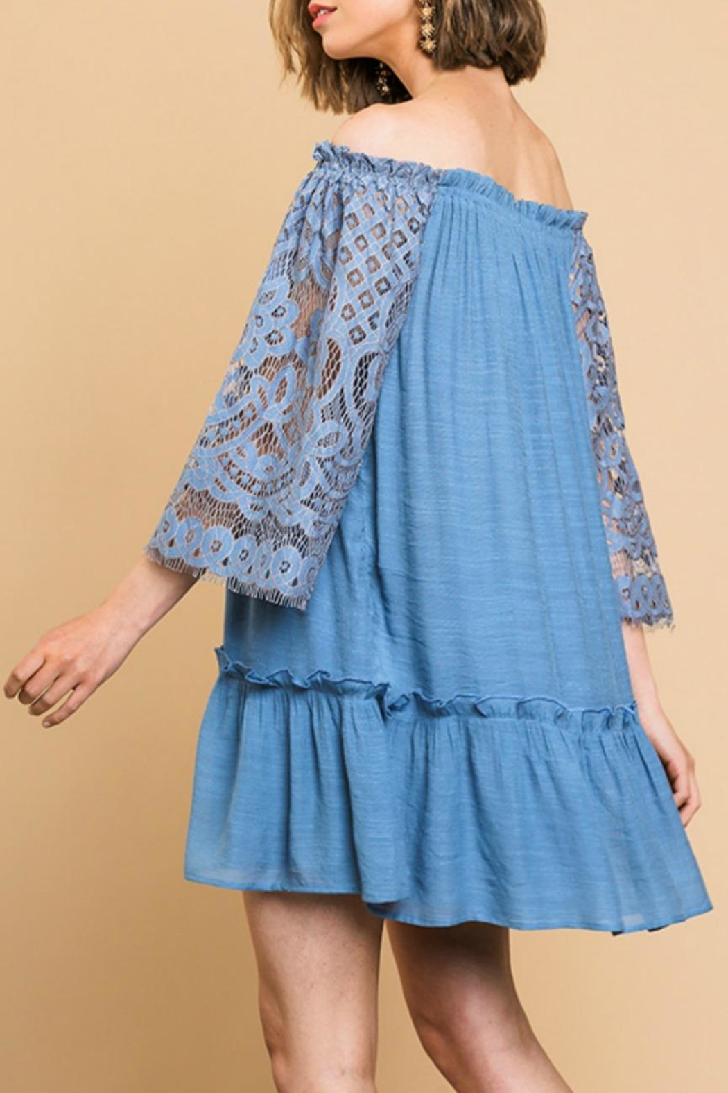 Umgee USA Lace-Sleeve Off-The-Shoulder Dress - Side Cropped Image