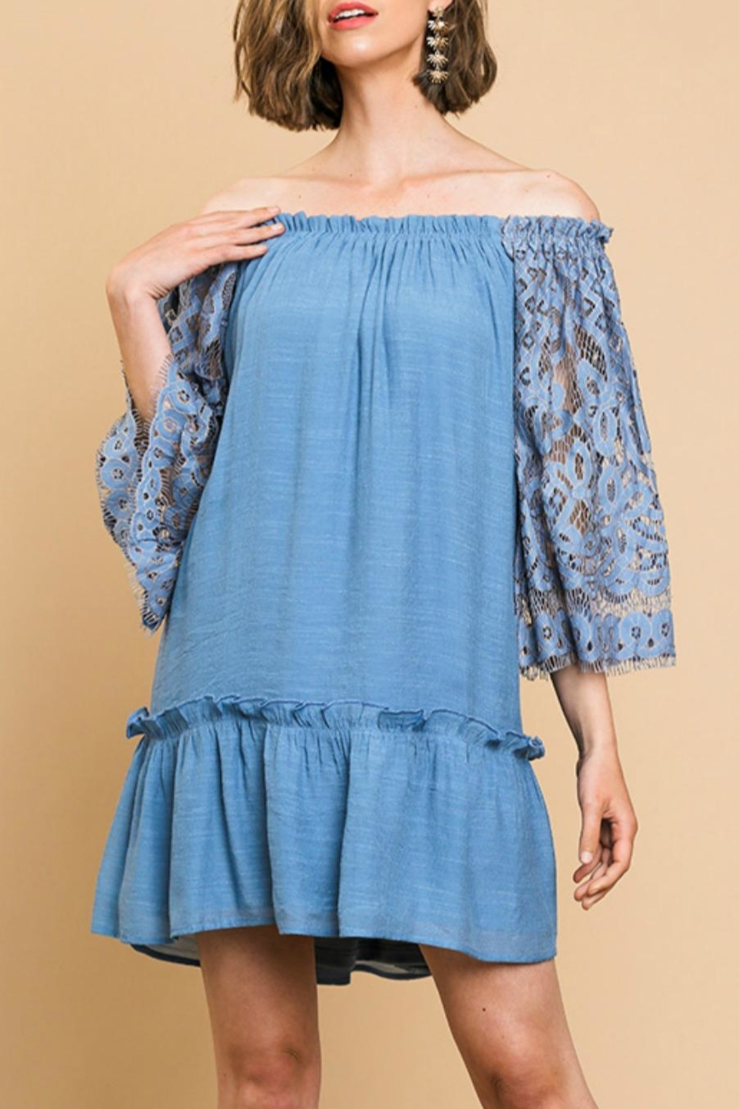 Umgee USA Lace-Sleeve Off-The-Shoulder Dress - Front Cropped Image