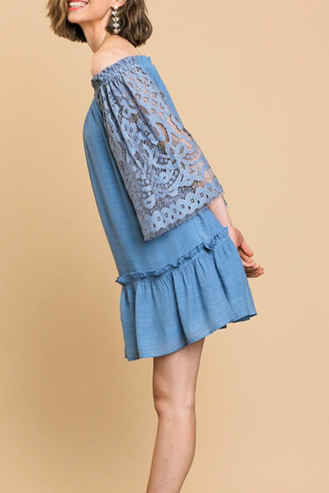 Umgee USA Lace-Sleeve Off-The-Shoulder Dress - Front Full Image