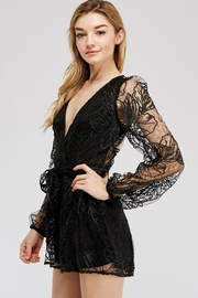 A Peach Lace Sleeve Romper - Front full body